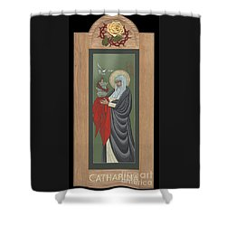 Shower Curtain featuring the painting St Catherine Of Siena With Frame by William Hart McNichols