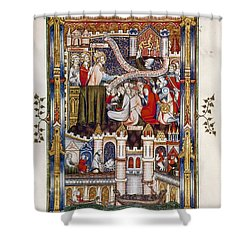 St. Denis Preaching, 1317 Shower Curtain by Granger