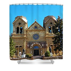 Shower Curtain featuring the photograph St. Francis Cathedral Santa Fe Nm by Joseph Frank Baraba