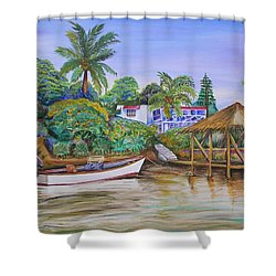Shower Curtain featuring the painting St. George Harbor by Patricia Piffath