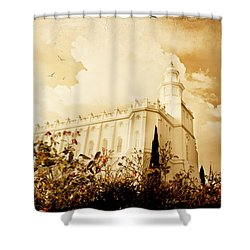 St George Temple Roses Shower Curtain by La Rae  Roberts