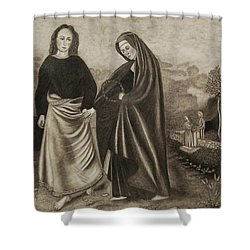 St. John And Blessed Mother At The Tomb Shower Curtain