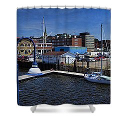 St. John New Brunswick Harbour With Cruise Ship Shower Curtain