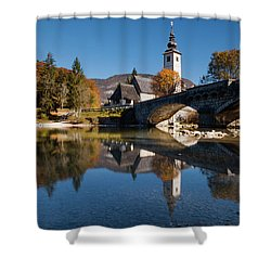 Shower Curtain featuring the photograph St. John The Baptist On The Lake Bohinj by Davor Zerjav