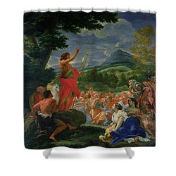 St John The Baptist Preaching Shower Curtain by II Baciccio - Giovanni B Gaulli