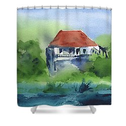Shower Curtain featuring the painting St Johns Rental by Frank Bright