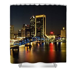 St Johns River Skyline By Night, Jacksonville, Florida Shower Curtain