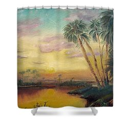 St. Johns Sunset Shower Curtain by Dawn Harrell