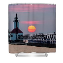 Shower Curtain featuring the photograph St. Joseph Lighthouse At Sunset by Adam Romanowicz