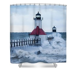 St. Joseph Lighthouse With Waves Shower Curtain