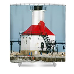 St Joseph North Pier Lights Shower Curtain by Michael Peychich