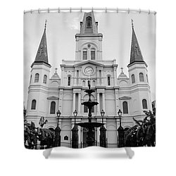 St Louis Cathedral And Fountain Jackson Square French Quarter New Orleans Black And White Shower Curtain