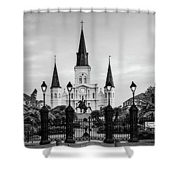 St. Louis Cathedral In Black And White Shower Curtain