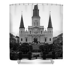 St Louis Cathedral On Jackson Square In The French Quarter New Orleans Black And White Shower Curtain