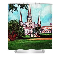 St. Louis Catheral New Orleans Art Shower Curtain by Ecinja Art Works