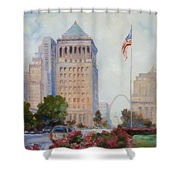 St. Louis Civil Court Building And Market Street Shower Curtain