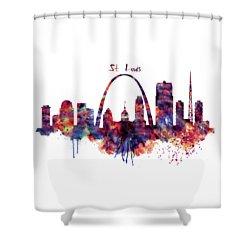 Shower Curtain featuring the digital art St Louis Skyline by Marian Voicu