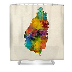 St Lucia Watercolor Map Shower Curtain