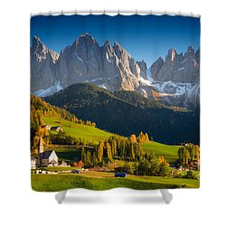 St. Magdalena Alpine Village In Autumn Shower Curtain