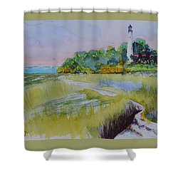 St. Marks Lighthouse Beachfront Shower Curtain by Warren Thompson