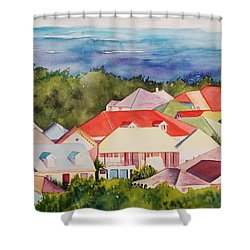 St. Martin Rooftops Shower Curtain