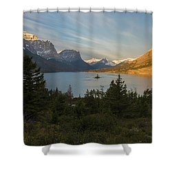 Shower Curtain featuring the photograph St. Mary Lake by Gary Lengyel
