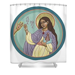 Shower Curtain featuring the painting St Mary Magdalen  Rabboni -  John 20 16 by William Hart McNichols