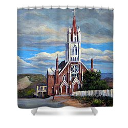 Shower Curtain featuring the painting St. Mary Of The Mountains by Donna Tucker