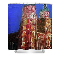 Shower Curtain featuring the painting St. Mary's Church Kosciol Marjacki by Ania M Milo