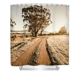 Shower Curtain featuring the photograph St Marys Winter Country Road by Jorgo Photography - Wall Art Gallery