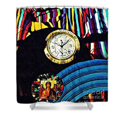 St Michael At The Gates Of Time Shower Curtain by Sarah Loft