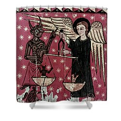 St. Michael Weighing Souls Shower Curtain by Granger