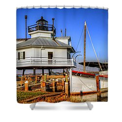 St Michaels Lighthouse Shower Curtain by Dave Mills