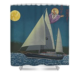 Shower Curtain featuring the painting St Nicholas Patron Of Children, Sailors And Sea Shepherds- 296 by William Hart McNichols