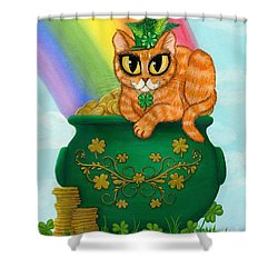 Shower Curtain featuring the painting St. Paddy's Day Cat - Orange Tabby by Carrie Hawks