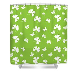 St. Patrick's Four Leaf Clover Background Shower Curtain