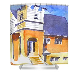 Shower Curtain featuring the painting St Paul Lutheran 3 by Kip DeVore