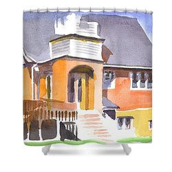 Shower Curtain featuring the painting St Paul Lutheran In Watercolor 2 by Kip DeVore