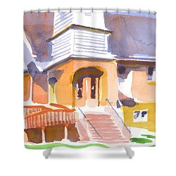 Shower Curtain featuring the painting St. Paul Lutheran Ironton Missouri by Kip DeVore