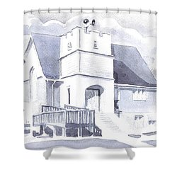Shower Curtain featuring the painting St. Paul Lutheran Church 2 by Kip DeVore