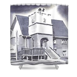 St Paul Lutheran With Ink Shower Curtain by Kip DeVore