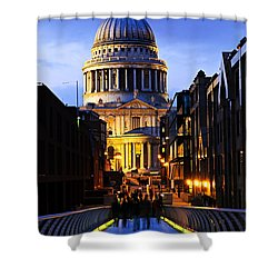 St. Paul's Cathedral From Millennium Bridge Shower Curtain by Elena Elisseeva