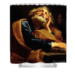 St Peter Shower Curtain by Pompeo Girolamo Batoni