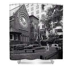 St. Peter's Episcopal Church In Black And White Shower Curtain