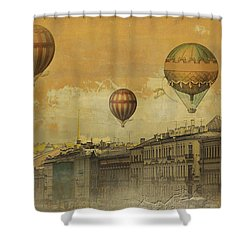 Shower Curtain featuring the digital art St Petersburg With Air Baloons by Jeff Burgess