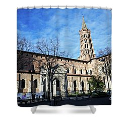 Shower Curtain featuring the photograph St Sernin Basilica by Cendrine Marrouat