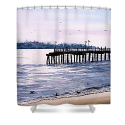 St. Simons Island Fishing Pier Shower Curtain