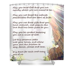 St Therese Of Lisieux Prayer And True Light Lower Emerald Pools Zion Shower Curtain