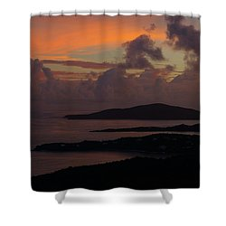 Shower Curtain featuring the photograph St Thomas Sunset At The U.s. Virgin Islands by Jetson Nguyen