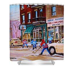 St. Viateur Bagel With Boys Playing Hockey Shower Curtain by Carole Spandau
